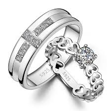 his and rings set his hers matching sterling silver cz rings set best