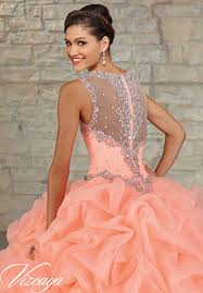 quinceanera dresses coral ruffled organza skirt with embroidered and beaded bodice