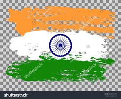 White Blue Orange Flag Painted Vector India Flag Navy Blue Stock Vector 688591489
