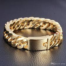 stainless gold bracelet images Classic 8 5 14mm 18k gold men 39 s jewelry stainless steel cuban jpg