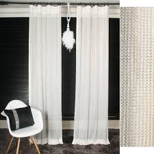 gold glitter accented white sheer curtain voile panel