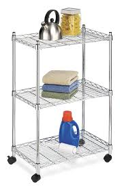 Chrome Shelves For Bathroom by Amazon Com Whitmor Supreme Cart With Wheels Chrome Home U0026 Kitchen