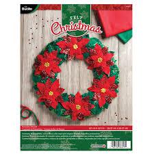 bucilla seasonal felt home decor poinsettia wreath 86827