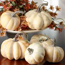 white pumpkins assorted harvest white artificial pumpkins fall and