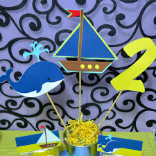 Sailboat Centerpieces Nautical Theme - nautical theme sailboat whale and age 3pc table topper