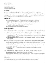 resume format for administration professional chief administrative officer templates to showcase