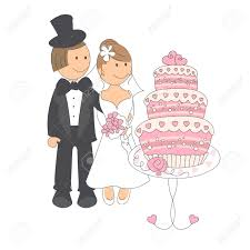 wedding couple looking on a wedding cake hand drawing