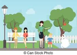 stock illustrations of people in park sketch of people in a park