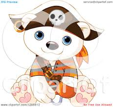 clipart of a cute baby polar bear in a pirate halloween costume