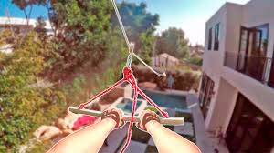 homemade backyard zipline into pool youtube
