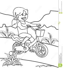 riding bicycle coloring page stock illustration image 86416689