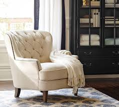 Upholstered Armchair by Cardiff Tufted Upholstered Armchair Ivory Pottery Barn Au