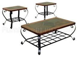 slate wood coffee table metal slate wood mixed media 3pc coffee table set