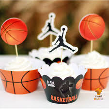 basketball party supplies 24pcs kids birthday party decoration cupcake wrappers favors