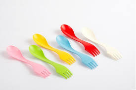 delicate beautiful plastic spoon fork knife integrated cutlery