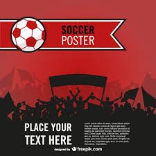 red soccer poster with people silhouettes vector free download