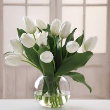 tulip arrangements white tulips in bowl skaff floral creations