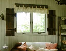 remodelaholic build rustic barn wood shutters from pallets barn wood shutters and lace valance prodigal pieces on remodelaholic