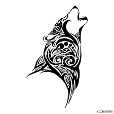 wolf howl design for tribal vector stock image and