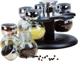glass spice jars set revolving rack modern kitchen jar stand 2