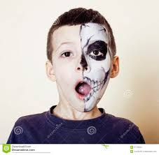 Halloween Face Paint Ideas Skeleton by Little Cute Boy With Facepaint Like Skeleton To Celebrate