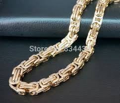 mens byzantine necklace images Online shop free shipping 4mm 5mm gold tone byzantine box 316l jpg