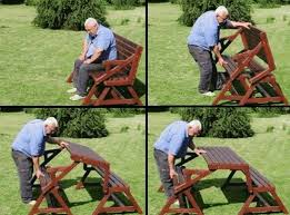Folding Bench Picnic Table Wonderful Diy 2 In 1 Folding Bench And Picnic Table