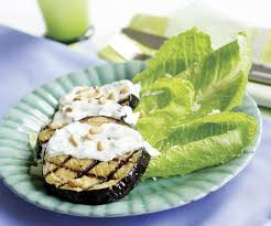 grilled eggplant salad with feta pine nuts u0026 garlicky yogurt