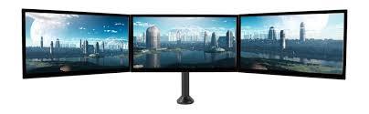 Three Monitor Desk Amazon Com Seneca Av Triple Arm Desktop Monitor Mount For 13