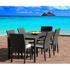 Teal Dining Table Amazon Com Outdoor Wicker Patio Furniture New Resin 7 Pc Dining