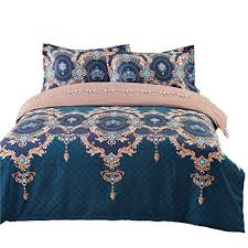 bohemian duvet cover set luxury european bedding blue brown floral