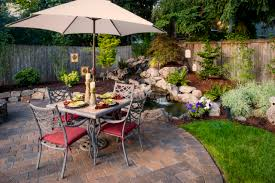 architecture diy backyard waterfall with beige outdoor umbrella