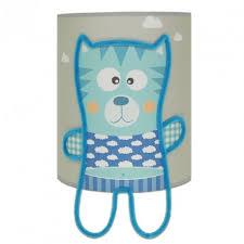 applique chambre bébé applique murale grise illustrée d un petit bleu pour chambre
