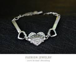s day bracelet diy letters bracelets women silver rhinestone