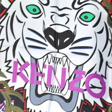 kenzo scarf green pink tiger print twill silk square scarf