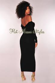 the black dress black ribbed knit sleeves maxi dress