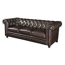Leather Button Sofa Bowery Hill Faux Leather Button Tufted Sofa In