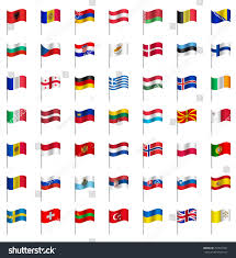 Flags Of The Wrld World Flags On Pole Europe Part Stock Vector 259541861 Shutterstock