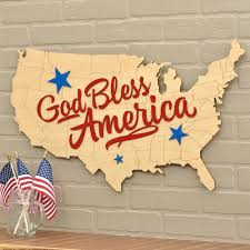 Wooden American Flag Wall Hanging God Bless America Usa Map Wooden Patriotic Wall Hanging Graphic