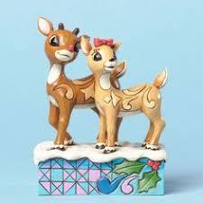 jim shore rudolph red nosed reindeer 2 figurines enesco nib