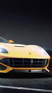 Ferrari F12 Yellow - ferrari f12 berlinetta yellow side view iphone 6 hd background