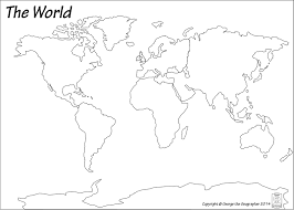 The World Map Labeled by Outline Base Maps