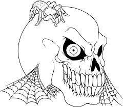 scary coloring pages skull and spider coloringstar