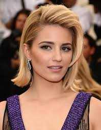 medium length flipped up hairstyles dianna agron flip shoulder length hairstyles lookbook stylebistro