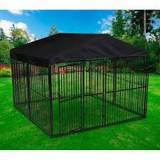 lucky dog european style kennel with cover and frame 6 u0027 h x 10 u0027 l