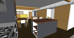 kitchen sketchup chezerbey here s a view standing at the dishwasher looking back at the dining and living area the island will be constructed of two drawer units and a shelf unit