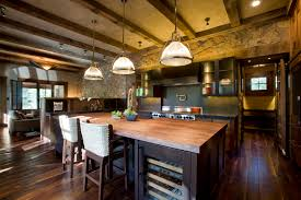 rustic kitchen design with modern mixed with vintage furniture and