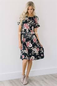 black floral ruffle sleeve modest summer dress cute modest