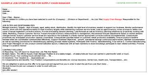 supply chain manager offer letter