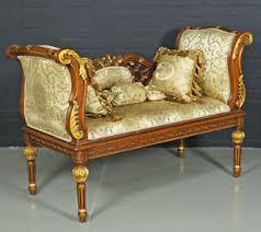 canapé style baroque banquette canape style baroque louis xvi en bois hetre brun dore